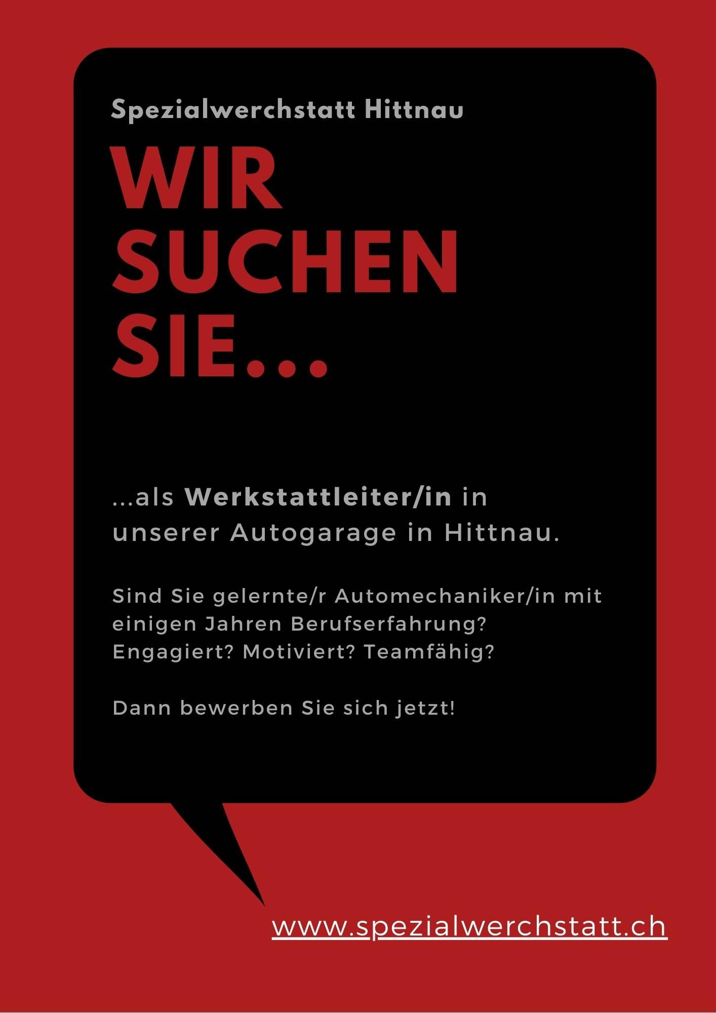 Job Stelle Werkstattleiter Autogarage Zürich Oberland